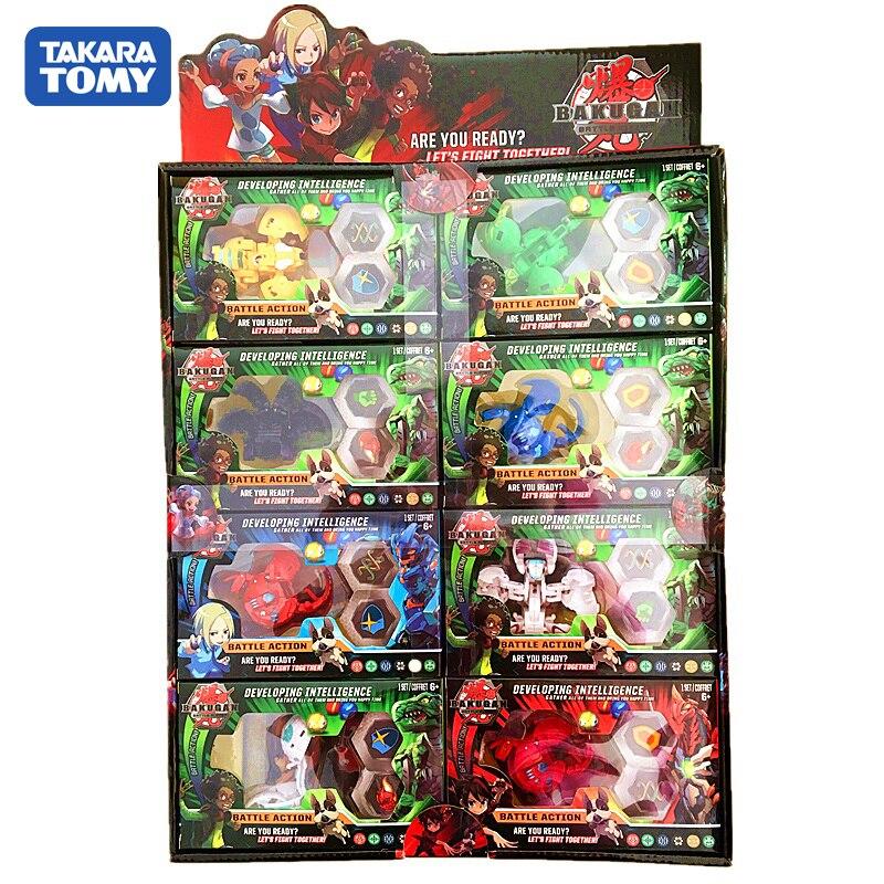 TOMY BAKUGAN 8PCS/LOT Battle Brawlers Bayblade Burst Toupie Metal Fusion Met Monster Ball Gyro Atletiek Speelgoed Christmas Gift